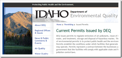 Idaho department of environmental quality current permits issued by DEQ air permits