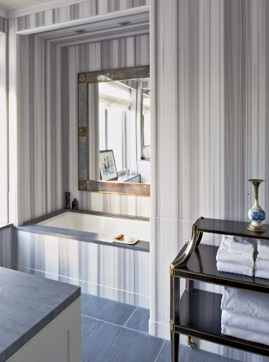 The Asher striped marble Michael used in this bathroom is absolutely stunning. (Photo by Michael Mundy)