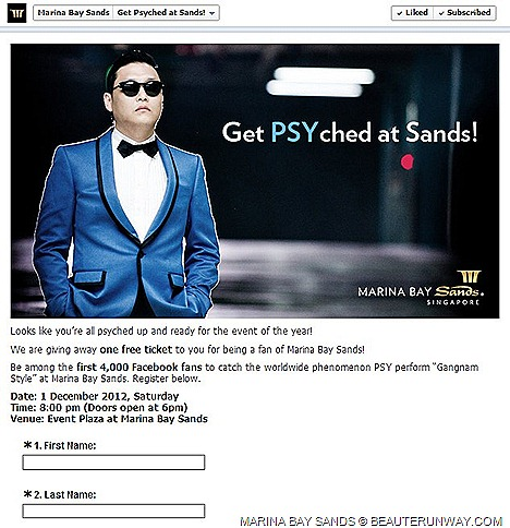 PSY Singapore Gangnam Style Korean pop singer Marina Bay Sands Madonna Lady Gaga Elton John PSY Singapore showcase ticket event plaza sensational Kpop Youtube video King Korean rap song Get PSYched Marina Bay Sands