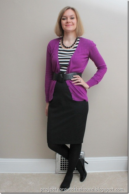 belter purple sweater, striped tee, black pencil skirt