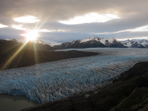 Watching the sun set over Glacier Grey at the Camp Guardas mirador.