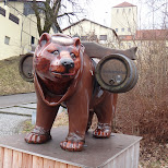bear carring beer in Freising, Bayern, Germany