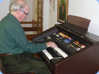 George Watt playing the arrival music on our Technics GA3 organ