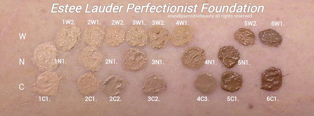 Estee Lauder Youth Infusing Perfectionist Makeup SPF 25; Review & Swatches of Shades 1C1 Cool Bone, 2C1 Pure Beige, 2C3 Fresco, 3C2 Pebble, 5C1 Rich Chestnut, 6C1 Rich Cocoa  Middle Rown- 1W2 Sand, 2W1 Dawn, 2W2 Rattan, 3W1 Tawny, 3W2 Cashew, 4W1 Honey Bronze, 4C3 Soft Tan,                              5W2 Rich Caramel, 6W1 Sandalwood  Bottom Row-   1N1 Ivory Nude, 2N1 Desert Beige, 3N1 Ivory Beige, 4N1 Shell Beige, 4N2 Spiced Sand,5N1 Amber Honey
