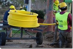 Informe de avance de la red de gas, agua y cloacas en el distrito
