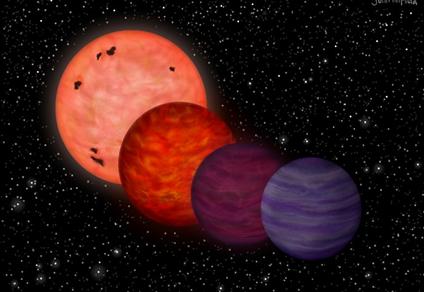 ilustração de estrelas e exoplaneta