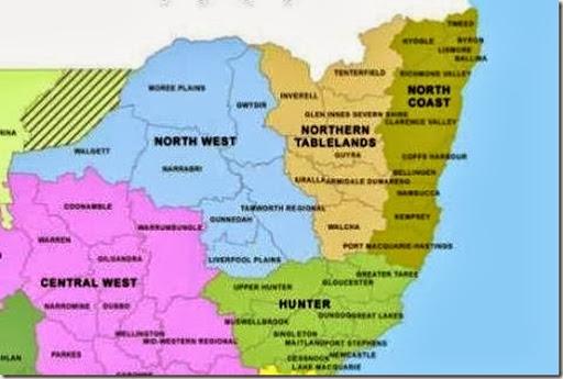 New England Australia Maps show the administrative simplicity of