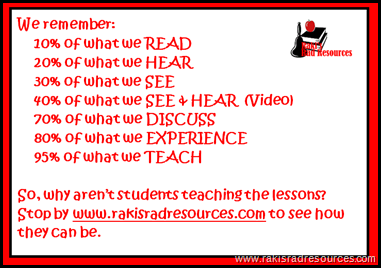 We remember 10% of what we read, 20% of what we hear, 30% of what we see, 40% of what we see and hear, 70% of what we discuss, 80% of what we experience, and 95% of what we teach.  Give students time to be the teacher - Raki's Rad Resources