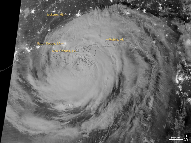 Early on 29 August 2012, the Visible Infrared Imaging Radiometer Suite (VIIRS) on the Suomi-NPP satellite captured this nighttime view of Hurricane Isaac and the cities near the Gulf Coast of the United States. The image was acquired by the VIIRS 'day-night band', which detects light in a range of wavelengths from green to near-infrared and uses light intensification to enable the detection of dim signals. In this case, the clouds of Isaac were lit by moonlight. NASA image by Jesse Allen and Robert Simmon