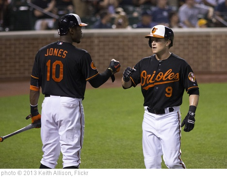 'Adam Jones, Nate McLouth' photo (c) 2013, Keith Allison - license: http://creativecommons.org/licenses/by-sa/2.0/