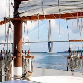 Boat to Bridge by Marjorie Bazluki - Transportation Boats