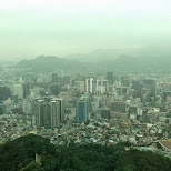foggy view of view from Seoul from the N Seoul tower in Korea in Seoul, Seoul Special City, South Korea