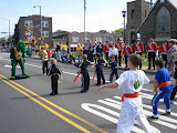 Kai and his karate class doing a demo during the Havertown Day parade