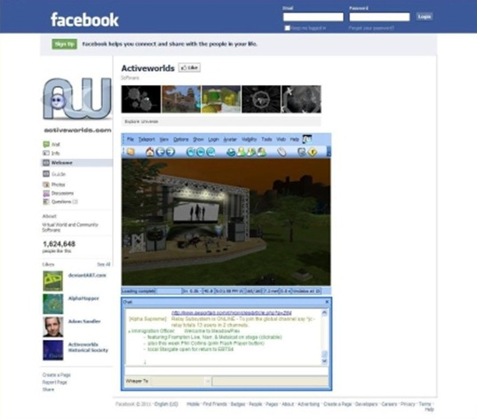 ActiveWorlds Facebook Web Embed