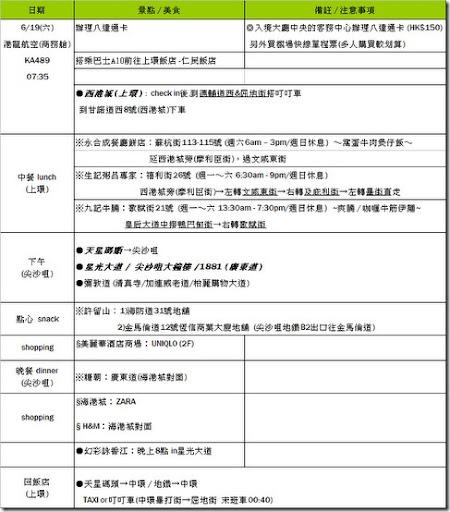 香港行程表-DAY1