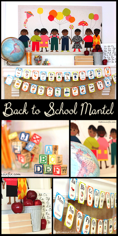 Back to school mantel decorating