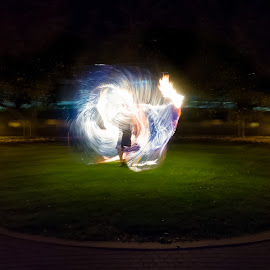 Summoned by Yu Tsumura - Abstract Light Painting ( indiana, light trail, silhouette, illusion, usa, fire, flame, fantasy, performance united states, west lafayette, juggling, performance, performing, hot, long exposure, night, blue fire )