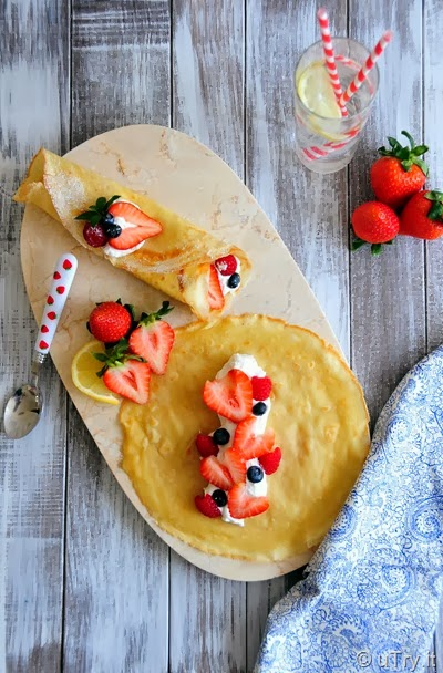 Simple Sweet Crepe with Berries and Chantilly Cream