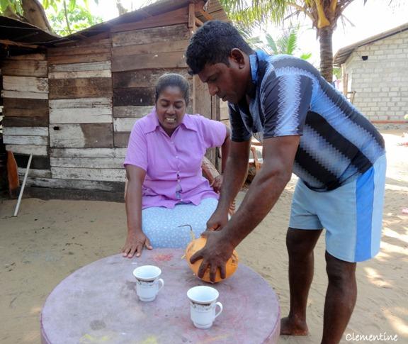 Marcus prpare noix de coco Sri Lanka