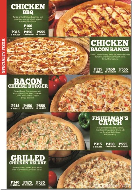 papa john's specialy pizzas