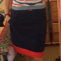 blue and red skirt