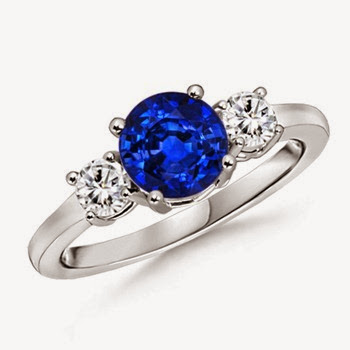 Sapphire and Diamond Three Stone Ring for valentines