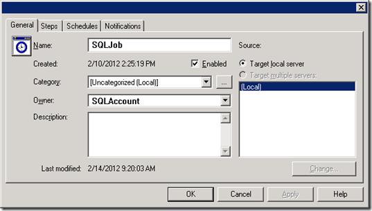 SQL Job Properties