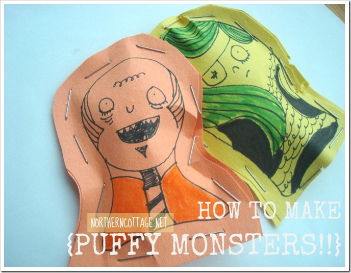 puffy paper MONSTER art@NorthernCottage.net