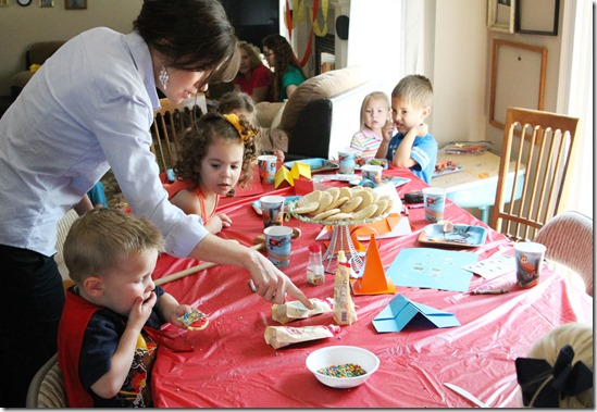 Snack time at a play group back to school Cars and Planes party- #shop #WorldofCars
