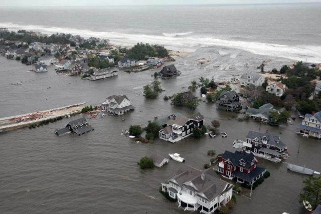 Aerial view of coastal flooding in Mantoloking, New Jersey, after Hurricane Sandy, taken from a New Jersey Air National Guard Helicopter. NJNG / Scott Anema