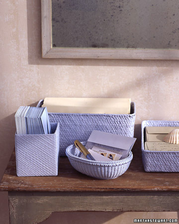 Turn empty gift baskets into stylish household organizers. (Similar receptacles are sold at floral shops and crafts stores if you need to supplement your supply.) Unify the mismatched containers by coating them with a single color of latex paint; dry overnight. (marthastewart.com)