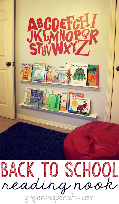 Back to School Reading Nook at GingerSnapCrafts.com ~ make you own book shelves #diy #school #books