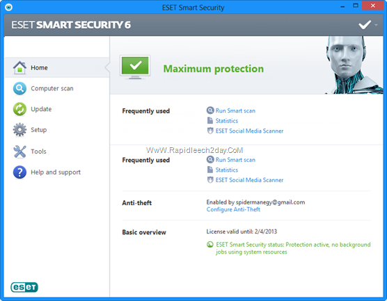 Download ESET Smart Security 6 All-in-One Internet Security Now With Anti-Theft New Feature - Offline installer