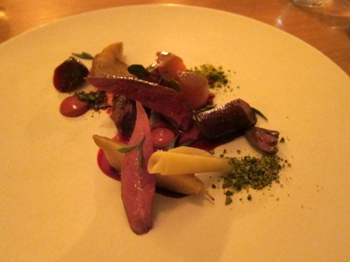 Roasted squab with beetroot and pistachio
