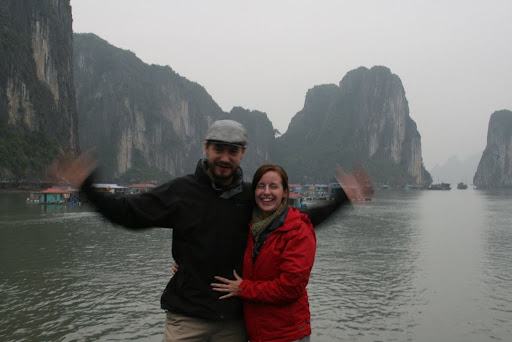 Entering one of the fishing villages of Ha Long Bay, evidently I'm trying to flap away somewhere...