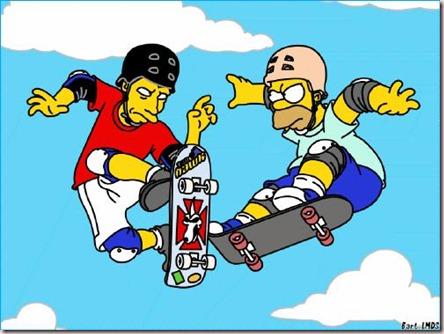 Homer peleando con Tony Hawk en el episodio 14x11 de Los Simpson.
