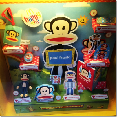 McDonalds happy meal X paul frank - Go Banana with Julius outlet display
