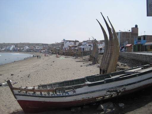 Fishermen's reed boats (caballitos) on the beach at Huanchaco