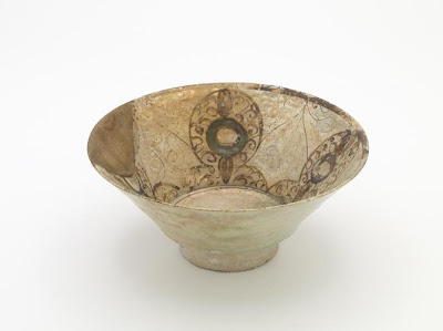 Bowl | Origin:  Syria | Period: 12th-13th century | Details:  Not Available | Type: Stone-paste painted with color under glaze and with lustre | Size: H: 10.6  W: 24.5  cm | Museum Code: F1908.145 | Photograph and description taken from Freer and the Sackler (Smithsonian) Museums.