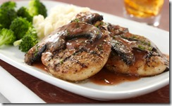 Wood-Grilled Chicken with Portobello Wine Sauce