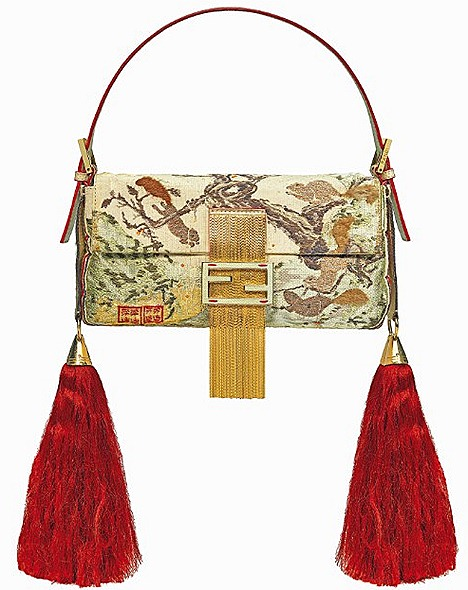 FENDI CHINA BAGUETTE BAG 2008 Great Wall Of China iconic gold beaded sequins red tassel designs double FF sequins double F gold matt leather clasp calf skin, pony hair, jeweled tone peekaboo satchel b-fab bag