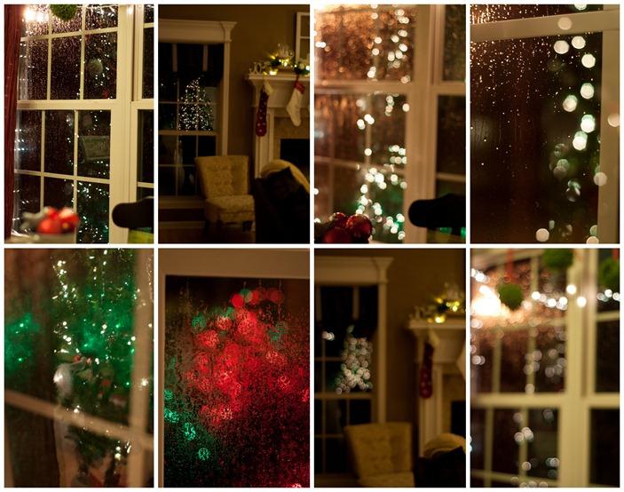 Christmas lights on rainy night
