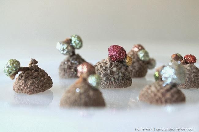 Glitter Acorn Caps via homework | carolynshomework.com