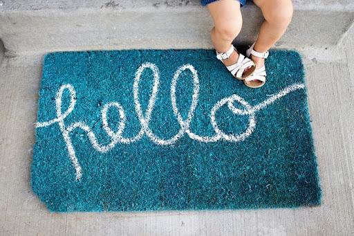 DIY Doormat and DIY Welcome mat & DIY \u201cHello\u201d Doormat | Zurcher Co | He + I \u003d Party of 5