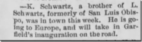 Schwartz K brother Santa Cruz Sentinel 19 Feb 1881