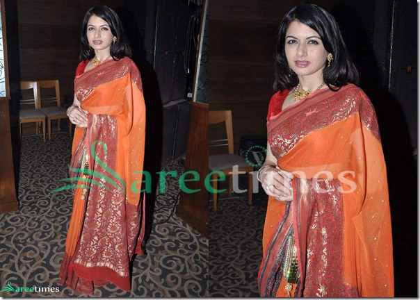 Bhagyashree_Orange_Saree