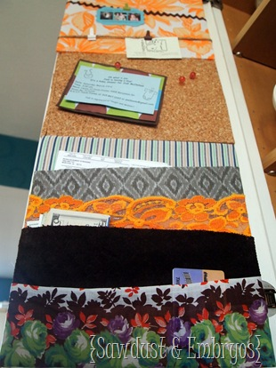 Organization station on the inside of kitchen cabinet door using fabric scraps! {Sawdust & Embryos}