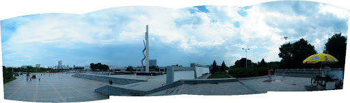 panorama of Peace Square in Qiqihar.