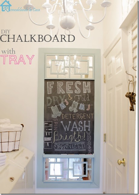 DIY chalkboard with tray