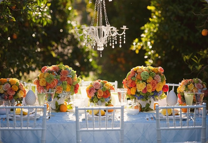 Citrus outdoor wedding chandelier orange grove heavenly blooms